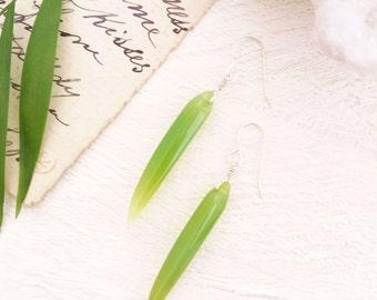 Gumdrop Green Spear Earrings