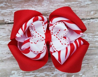 Red and White Stacked Hairbow - Twisted Boutique Hair Bow - Zebra Tiger Stripe Valentine Hairbows - Big Girl to Baby OTT Hair Bows Birthday