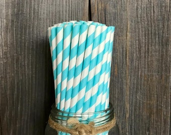 100 Light Blue Stripe Paper Straws, Birthday Party, Wedding Supply, Bridal or Baby Shower, Gender Reveal Party, Disposable Paper Goods