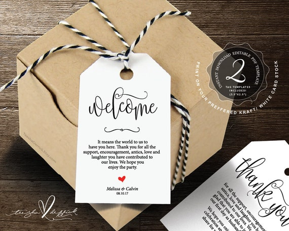 Items similar to guest welcome bag gift tags thank you for Tags for gift bags template