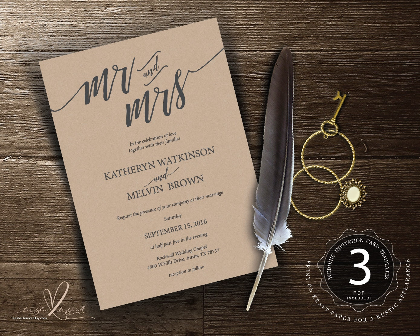 Mr And Mrs Wedding Invitation Wording: Mr And Mrs Typography Wedding Invitation Instant Download