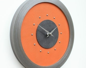 Orange Wall Clock - PEWTER Studs - PEWTER Hands - In Gift Box - The Perfect Hand Made Gift !..