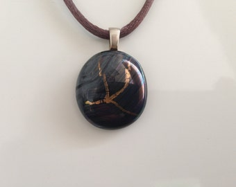 Unique gold blue and grey shining dichroic glass pendant, including a brown satin- necklace