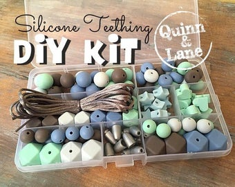 Silicone Teething DIY Kit - Silicone Beads & Supplies - Make Your Own Baby Chew Jewelry Teething Necklace - Mint/Icicle/Powder/Capp (HS)