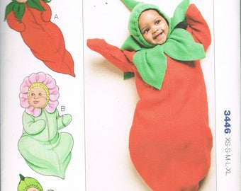 Easy Infants' Halloween Costume Sewing Pattern-  Baby Bunting Costume Pattern - Chili Pepper Costume - Pea Pod Costume - Kwik Sew 3446