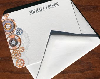 Hand drawn gears Monogrammed Stationery For Men: Best Personalized Fathers Day Gift Ideas, Great Gift for Dads, top fathers day gifts