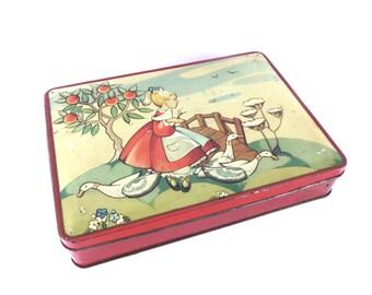 RARE Vintage 1930s Serpells Biscuit Tin, Container Storage, Tea Tin, Biscuit Tin, Metal Jar