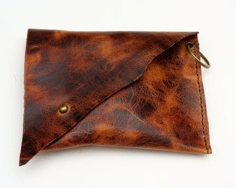 Golden Brown Marbled American Leather Hand Stitched Asymmetrical Clutch Purse, Moyamensing, Leather Minimalist Pouch, Wristlet, Clutch