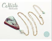 Callisto Necklace — african opal, czech glass, gold satellite chain,  turquoise blue, maroon red, boho layering wedding nashville bride