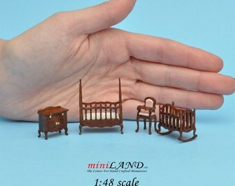 "1:48 1/4"" quarter scale Victorian baby nursery room set 4pcs Top quality dollhouse miniature WN"