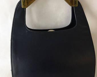 1960's Navy Bag Unusual Top Handle