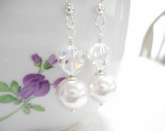 Pearl & Crystal Earrings, Swarovski Crystal Jewelry, White Pearl Dangle Earrings, Aurora Borealis Earrings, Sterling Silver Bridal Jewelry
