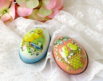 Vintage Litho Tin Easter Egg Candy Containers - Made in England - Ducks and Chicks