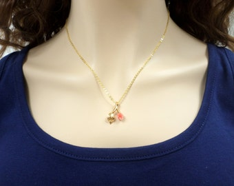 Carved Coral Necklace Gold Flower Leaf Pendant Necklace 18 Inch Vintage Gold Genuine Coral Necklace Jewelry