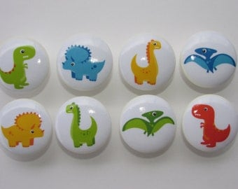 Dinosaur Dresser Drawer Knobs Set of 8