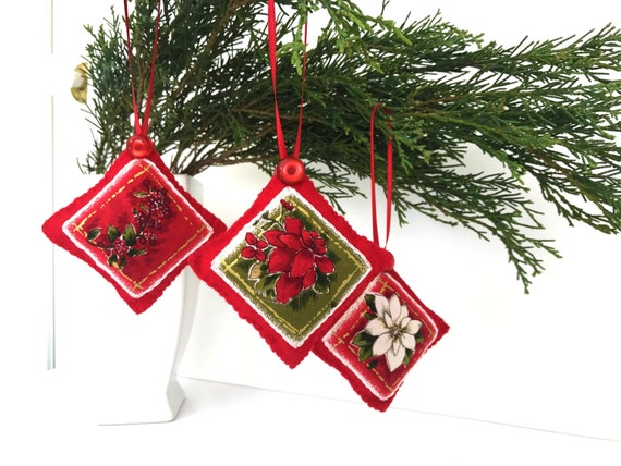 Red Felt Christmas Tree Decorations Hand Embroidered