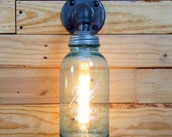 Vintage Aquamarine Half Gallon Mason Jar Wall Sconce Light Black Iron Industrial Steampunk Style