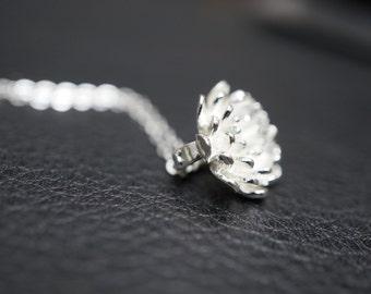 Silver Lotus Necklace. Sterling Silver Lotus. Silver Blooming Flower Necklace. Lotus Flower Necklace. Solid Sterling Silver Lotus Necklace