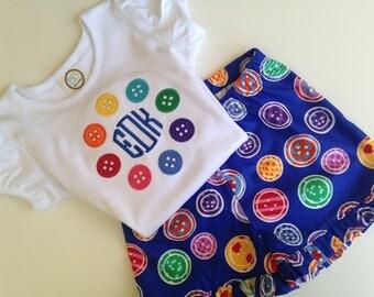 Buttons Girls' Shirt, Ruffled Shorts, or Shorts Outfit