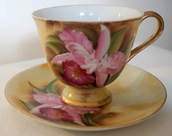 Enesco Japan Tea Cup & Saucer Hand Painted Pink Orchids Gold Trim