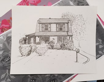 """House Drawing- 5""""x7"""""""