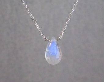 Moonstone Necklace - June Birthstone - Sterling Silver - Minimal