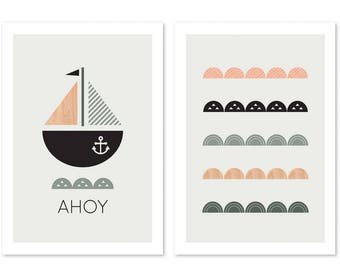 Modern Nautical Nursery Decor, Modern Nursery art, Modern kids wall Art, Kids wall Art, Kids Room Art.