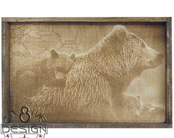 Smoky Mountain Bear Family   3D Wood, Laser Etched,Photographic 3D Textured  Plaque 15.5 inch Framed  CR8-0153