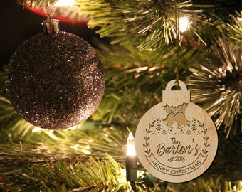 Personalized Christmas Ornament, Family First Christmas, Engagement Gifts for Couple, Wood Christmas Ornaments, Christmas Tree Ornament