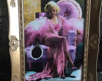 Jean Harlow glitter print in a gold frame 7x5""