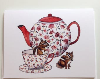 Time for Tea Chipmunks Teapot greeting card 4.25x5.5 blank inside