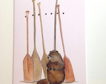 Beaver and Paddles card 4.25x5.5 blank inside