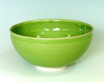 Ceramic bowl, porcelain bowl, green bowl, spring green glaze, salad, soup, rice, handmade