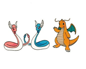 Dragonair or Dragonite Pokémon - Fully Embroidered Patch (CHOOSE ONE)