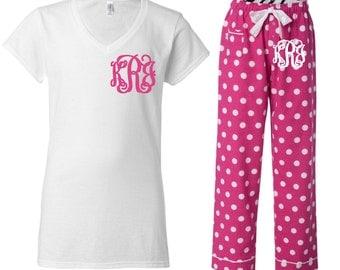 Monogrammed Pink Polkadot Pajama Set/Pink Pajama Set/Monogrammed Pajamas/Womens Pajamas/Monogrammed Gifts
