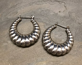 "1.25"", Vintage sterling silver handmade earrings, Mexico 925 silver earring hoops, stamped 925"