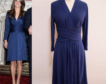 Kate Middleton Engagement Dress/ Blue Issa Dress/ Duchess of Cambridge Dress/ Wrap Dress/ Jersey Knit Dress/ custom dress/ Premium jersey