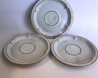 Vintage Lauffer Denmark Clover 3 Saucers Tan Scallop Specks