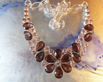 Amethyst and Pink Kunzite and Sterling silver bib style necklace