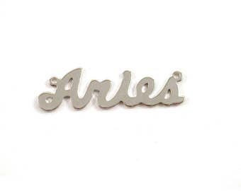 2x Silver Plated Zodiac Name Plate Pendant  - M117-Aries