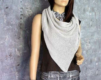 TRIANGLE SCARF Silk/Cotton silver grey