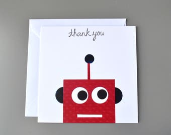 Robot Thank you Card - thank you card for him - thank you card for kids - retro robot card - saying thanks card - robot card - thanks