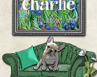 Frenchie Art Print / Personalized Pet / Dog Gift / French Bulldog Gift / Funny Dog Wall Art / Pop Art / Frenchie Dog Gifts / Home Decor