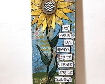 Sunflower Wall Art  | Mixed Media Collage Art | Rustic Sunflower | Walt Whitman | Sunflower Sign