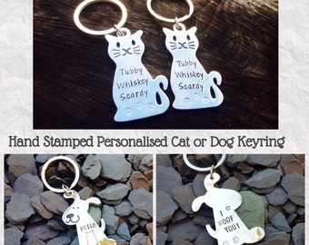 Personalised Hand Stamped 'Cat and Dog' Aluminium Keyring, Cat Lovers, Dog Lovers, Pet Owners, Personalized, Stamped Metal, Animal Lovers.