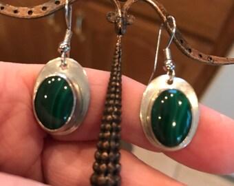 Sterling Silver & Malachite Dangle Pierced Earrings