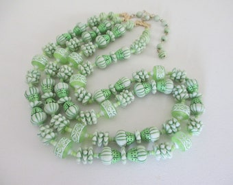 Vintage Lime Green Bead Double Strand Necklace Lucite Enamel Metal Unique Retro Free Shipping