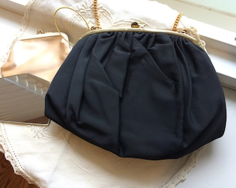 Vintage Ingber Black Silk Faille Evening Bag