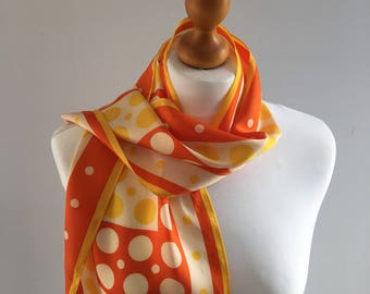 Vintage Japanese scarf by Prova, orange and yellow dots and spots, acetate