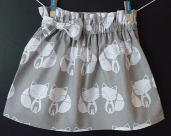 Girls skirt, toddler skirt, fox print skirt, skirt with a bow